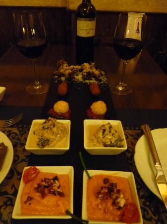Alcaravea : Five Tapas Appetizer: Gazpacho, Albondigas, Croquettes, Lightly fried Artichoke at rear