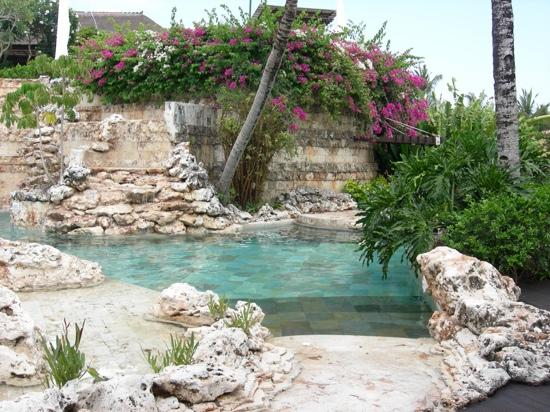 AYANA Resort and Spa: villa pool waterfall view! looks like natural ocean coral streams to the pool!