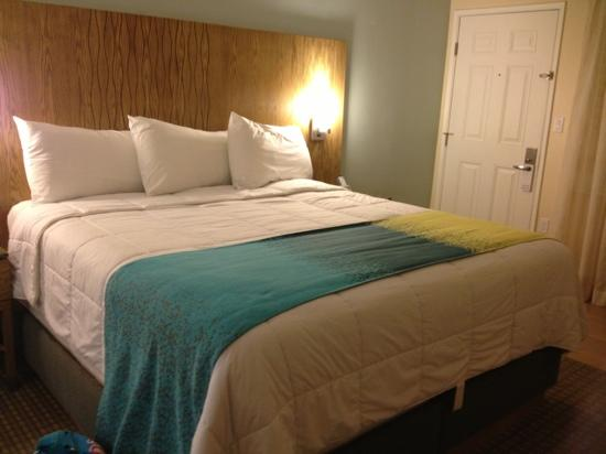 PB Surf Beachside Inn: Comfy king bed suite.