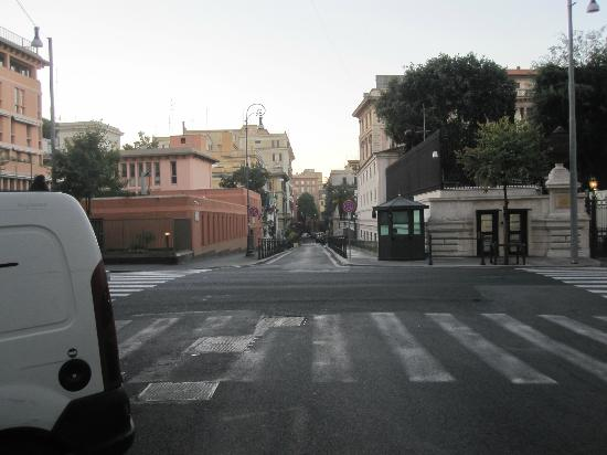 Domus Via Veneto: View down the street. American embassy.