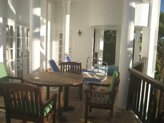Windjammer Landing Villa Beach Resort: Room patio (same amount of space inside)