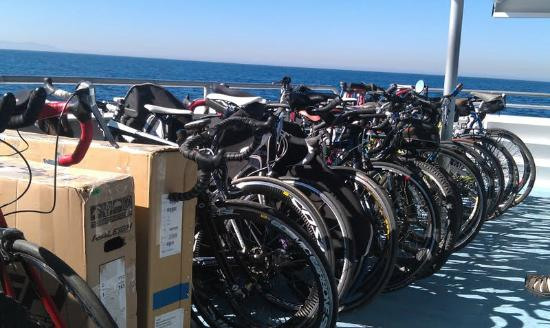 The Avalon Hotel: The ferry bike rack - Catalina triathlon! Our bikes are the slow ones with the FAT tires-