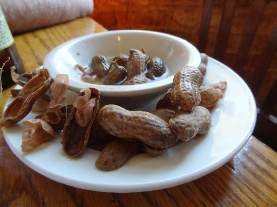 Hyman's Seafood: My first taste of boiled peanuts.  They were okay...