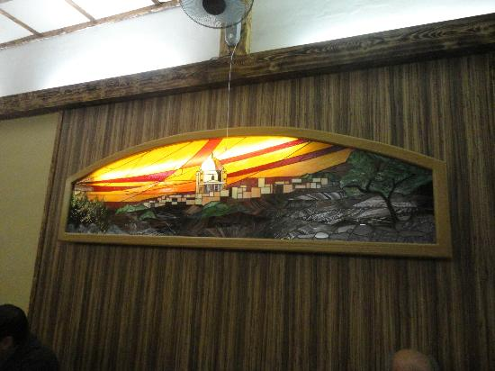 Mgarr United Bar & Restaurant: the stained glass of Mgarr church
