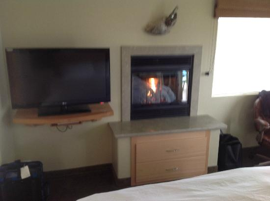 Cambria Shores Inn: Room 25- nice TV, DVD and fireplace