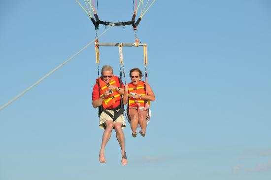 Parasailing ten minutes from Rock Reef Resort