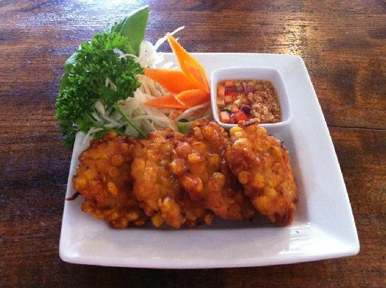 Pad Thai at The Rising Sun: Sweetcorn Cakes