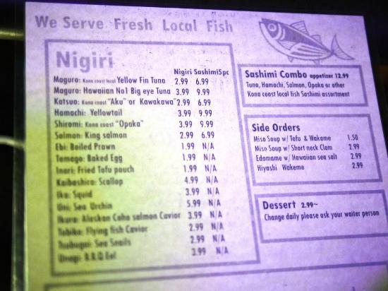 Sima-Ichi Sushi: menu