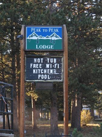 Peak To Peak Lodge: the sign