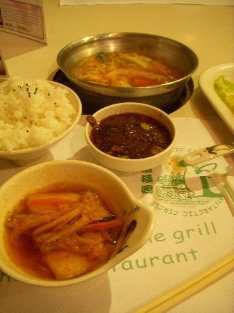 Antarctic Circle: Shabu-shabu rice, and sauce accompaniment