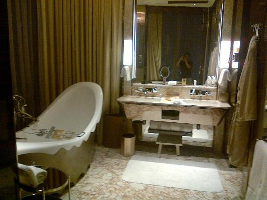 The Ritz-Carlton Shanghai, Pudong: Standing bathtub on the left. Shower area (not pictured) on the right