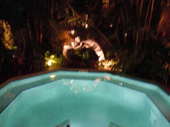 The Mermaid & The Alligator: The hot tub at night