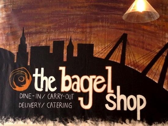 The Bagel Shop: the banner in the shop on the wall