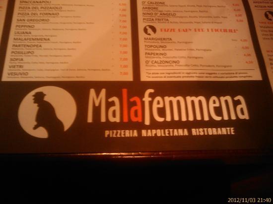 Ristorante Pizzeria la Malafemmena: La tovaglietta-menu