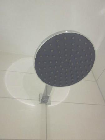 Hotel Arena Inn: useless shower head with no shower-curtain the water would go all over the bathroom 's floor