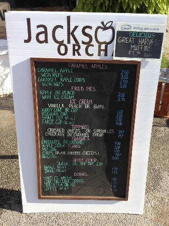 Jackson's Orchard : Menu for their food stand.
