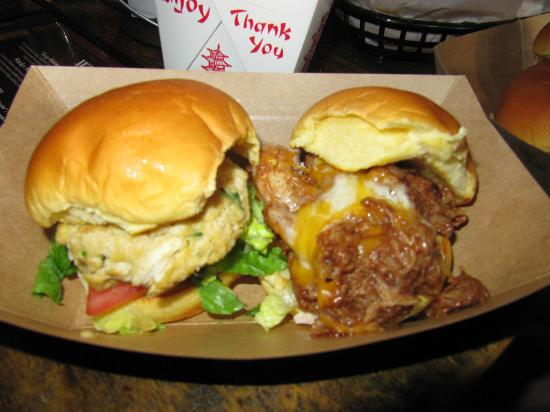Billy Jack's Wing & Draft House: Crab Cake and Pork BBQ slider