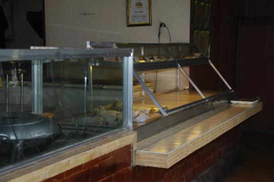 The original Barbeque: Display area for the selection of fish and meat