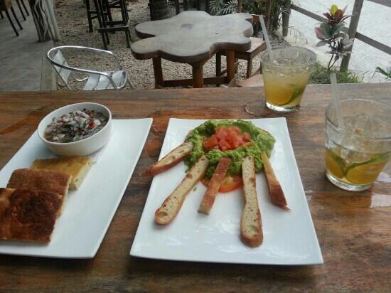 Pasta Basta: ceviche, guac, and margaritas.