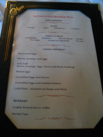 Lynhams Hotel: Breakfast menu