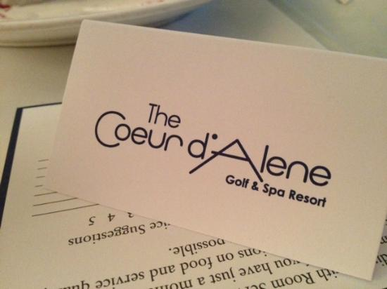 The Coeur d'Alene Resort: Card
