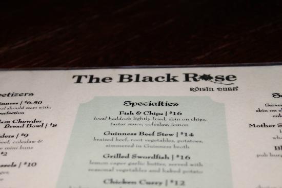 The Black Rose: menu