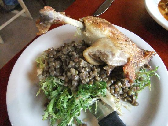 Prima Bistro: Duck Confit with Lentils
