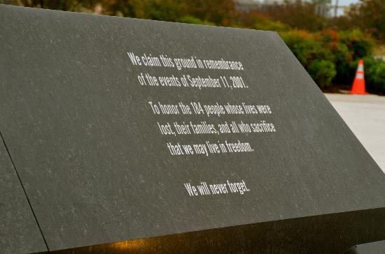 Pentagon Memorial: Memorial Sign.