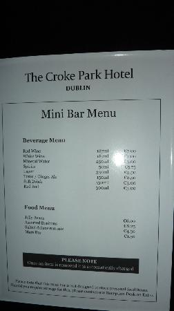The Croke Park: Mini bar will be emptied upon request (done very promptly for us - good service)