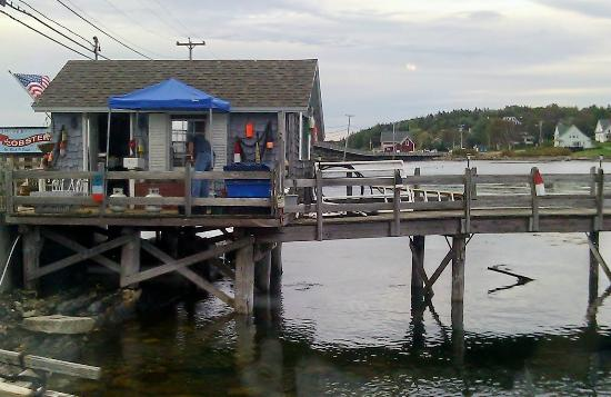Morse's Cribstone Grill: our view from the table. lobster shack where the FRESH lobsters were being sold