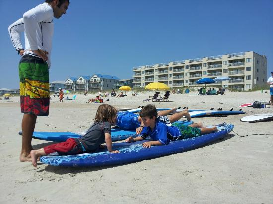 Tony Silvagni Surf School: Land instruction for all my boys our first time!