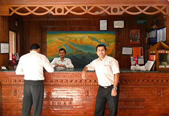 Hotel Encounter Nepal: reception desk and our tour manager Raj