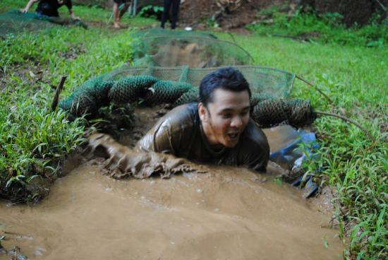 Phillip's Sanctuary: me doing the mud crawl!