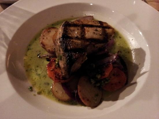Conch and Bucket: Grilled swordfish with roasted potatoes