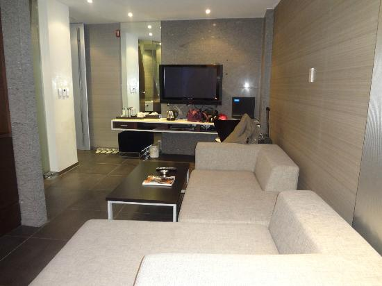 Hotel Tria: the living area,tv n computer