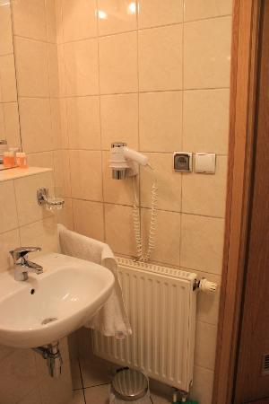 U Pana Cogito Hotel: Sink, hair dryer