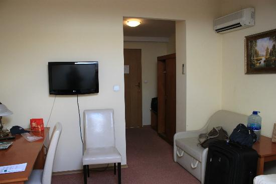 U Pana Cogito Hotel: Room: TV, air conditioner (top right), desk, chairs