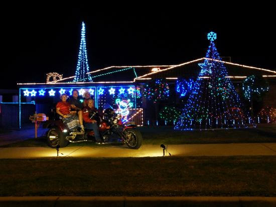 Trike Adventures: See the beautifull Christmas Lights on the back of our powerfull trike.