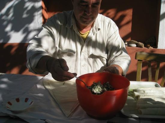 Pension Ecer: Necip making delicious Turkish borek