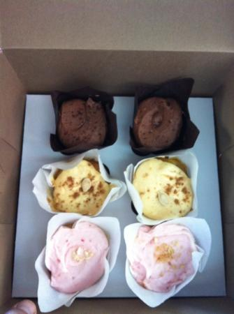 Fat Bottomed Girl's Cupcakes: chocolate, pumpkin, and strawberry cheesecake