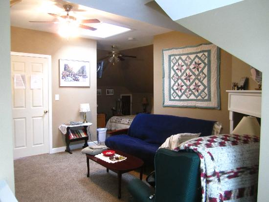 MayneView Bed & Breakfast: Huguenot Knight Suite Living Room w/Futon