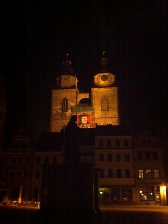 Stadtkirche, a World Heritage Treasure: Night view from market square