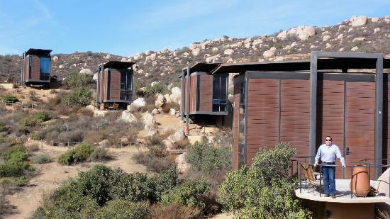 "Encuentro Guadalupe: A view of the ""pods"", cabins or lofts"