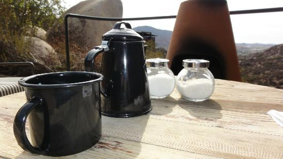 "Encuentro Guadalupe: Cofee jar and cups made of ""peltre"". Typical service for camping ;)"