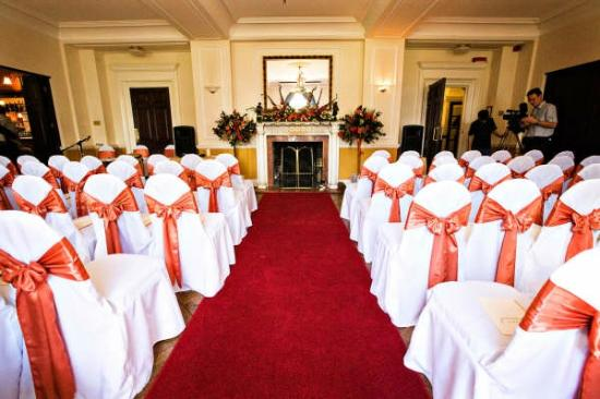 Llansantffraed Court: Clytha Suite set up for a Civil Ceremony