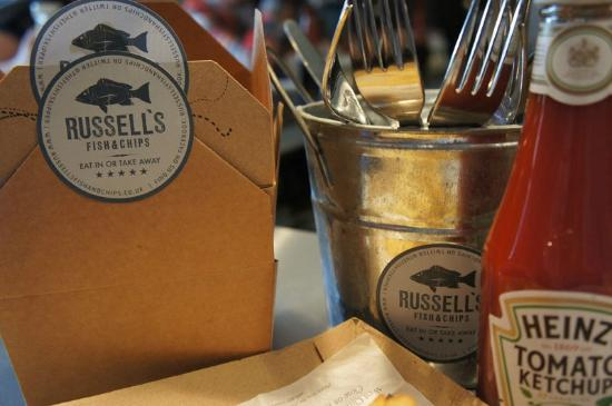 Russell's Fish & Chips: nice packaging