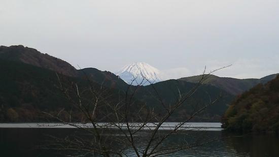 Le Trianon : レストランの前庭から富士山