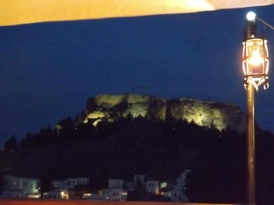 Med East : View from restaurant towards Acropolis after dark