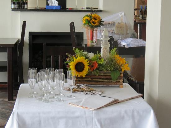 C  the View Guesthouse: Our flowers & welcome drinks