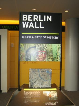 Newseum : Eight actual sections of the Berlin wall plus an East German guard tower are in this exhibit
